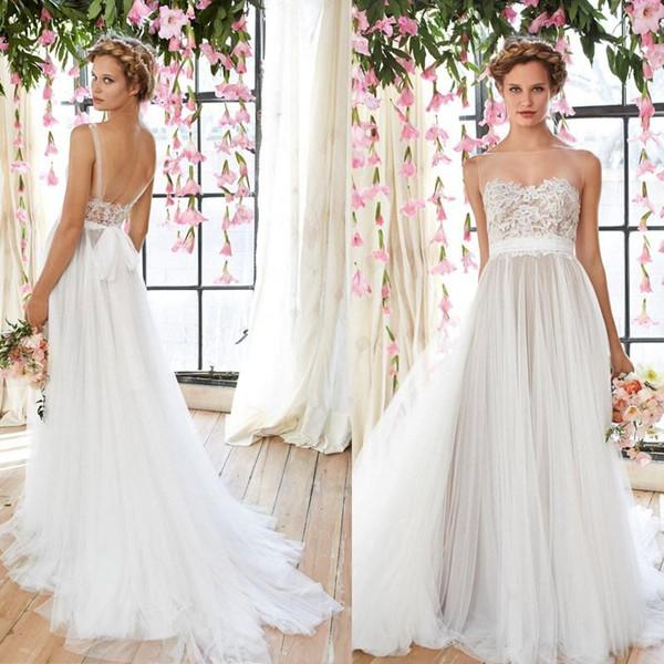 Vintage Flowing Wedding Dresses 2016 Sheer Illusion Neckline Lace ...