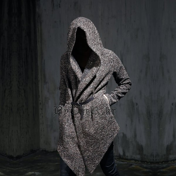 All'ingrosso-Autunno inverno uomo gotico cappotto di trench con cappuccio nero punk personalità mantello robe mens harajuku lana cappotto lungo mantello swag cappotto