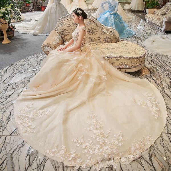LS00406 cap sleeves elegant peplum flowers long train sequin dress see through back bodice wedding dress