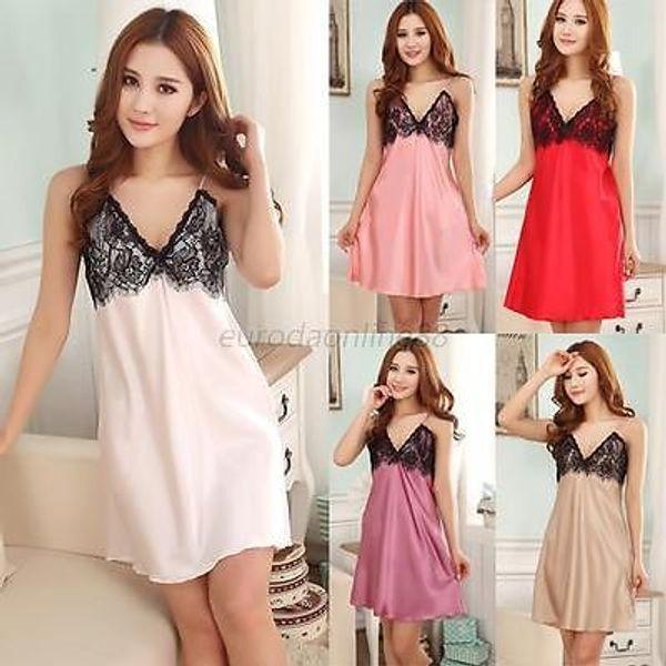 w1025 New Sexy Lace Women Nightgown Deep V-neck Sleepwear Imitated Silk Braces Dress