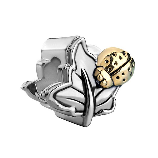 Rhodium Silver Color Plating Leaf with Gold Ladybug On Bead European Animal Charm Fit Pandora Bracelet