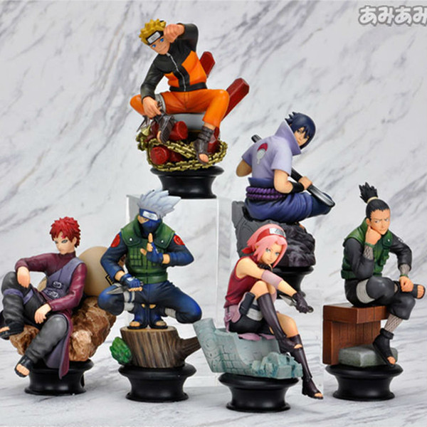 Naruto Action Figure Doll High Quality Sasuke Gaara Shikamaru Kakashi Sakura Naruto Anime Toys Collection for Boys 6 PCS / Set
