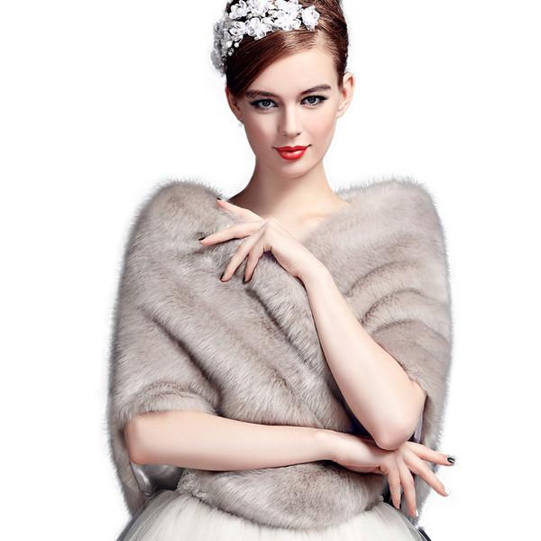 Jane Vini Bridal Wedding Shawls and Wraps Winter Bolero Women Faux Fur Shoulder Capes Stoles for Wedding Party Dresses 2018 High Quality