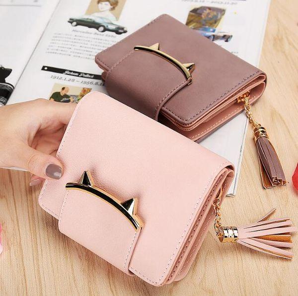 6e45691f0d8 2017 Korean Cute Cat Anime Leather Trifold Slim Mini Wallet Women Small  Clutch Female Purse Coin Card Holder Dollar Bag Cuzdan G1104 Leather Goods  ...