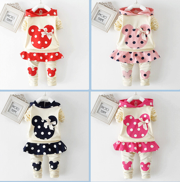 Spring autumn girl hoodie+skirt pant set 2 pieces children long sleeve polka dots clothes suit 100% cotton
