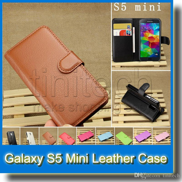For Galaxy S5 Mini Wallet Design Folio Flip PU Leather Case Cover with Credit Card Slot for Samsung S5 Mini G800