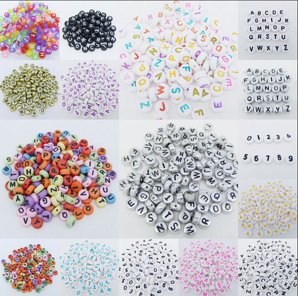 top popular Hot ! 500 pcs 7mm Acrylic Mixed Alphabet Letter Coin Round Flat Loose Spacer Beads 15- style Pick 2020