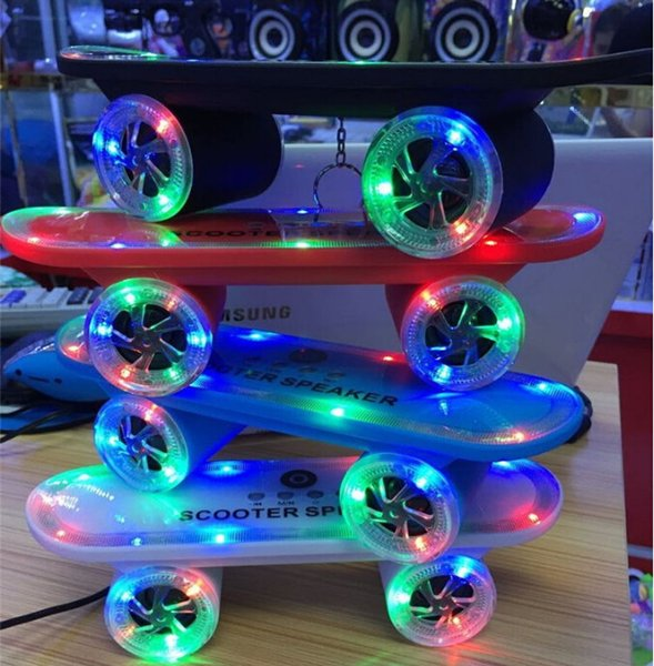 New arrival Skateboard Bluetooth Wireless Speaker Mobile Audio Mini Portable Speakers with Led Light DHL Free Shipping