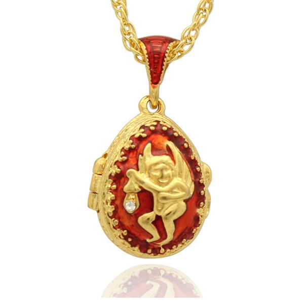 Kırmızı emaye melek Faberge Yumurta Kolye madalyon için Paskalya Yumurta Rus Tarzı Kolye ile Kristal ve Altın Kaplama Zinciri