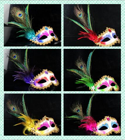 2016 Sexy Women Hallowmas Venetian Mask Masquerade Pheasant Peacock Feather Masks Half Face mask Ball Party exquisite 10pcs/lot
