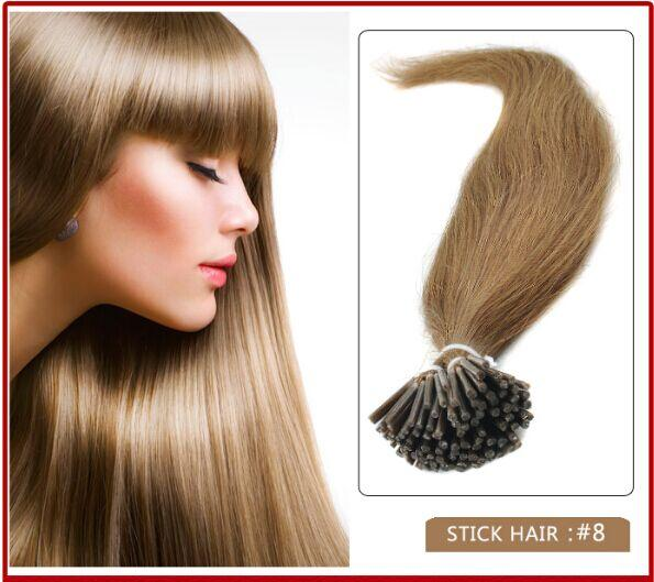 """wholesale-5A - 1g/s 100g/pack 14''- 24"""" Keratin Stick I Tip Human Hair Extensions Brazilian hair 8# light brown dhl Fast shipping"""