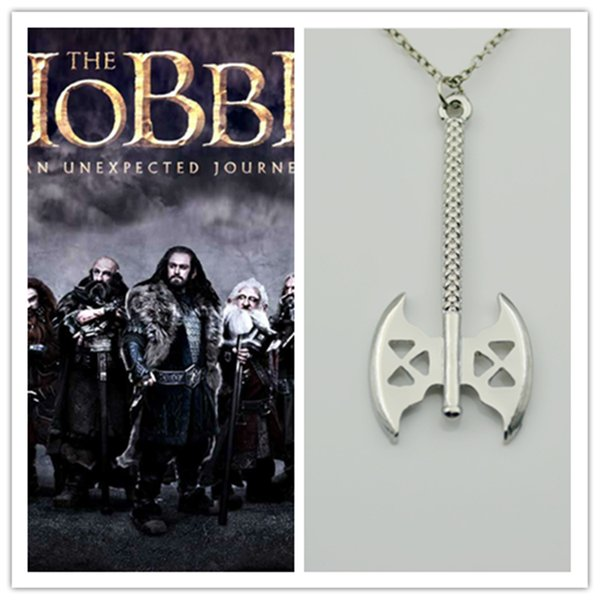 The Lord Of The Rings Collane The Hobbit Dwarf Gimli's Axe Pendant Necklace 10pcs / lot Movie Jewelry