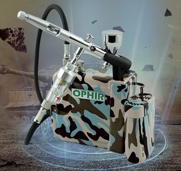 Al por mayor-OPHIR Pro Kit de Aerógrafo wth Mini Compresor de aire de doble acción Aerógrafo Pistola de pulverización para cosméticos Hobby Tattoo Makeup Body Paint