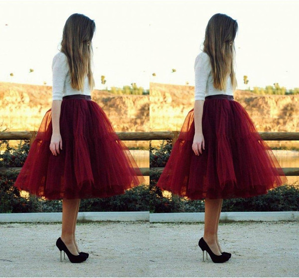 top popular 5 Layers Puffy Burgundy Skirts for Women Knee Length Best Selling Fashion Dresses Fairy Lovely Tulle Skirts 2021