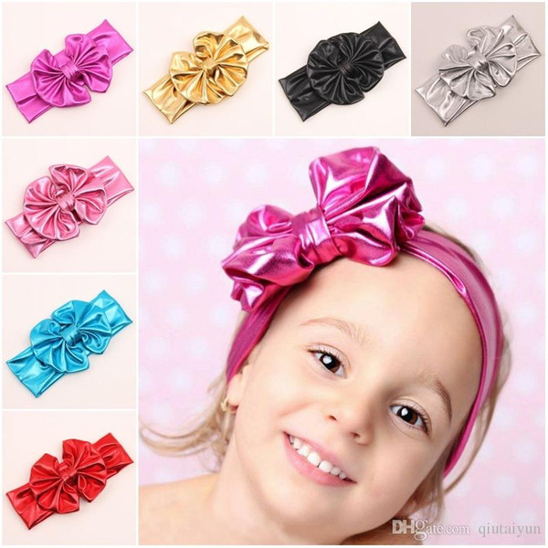 Shiny leather bow headband for children baby girls big elastic metal color head wraps turban bands bandana headband hair accessories B268-8