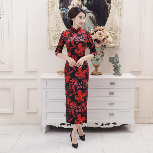 Shanghai histoire velours qipao robe traditionnelle chinoise 3/4 manches longues robe cheongsam robe orientale chinoise