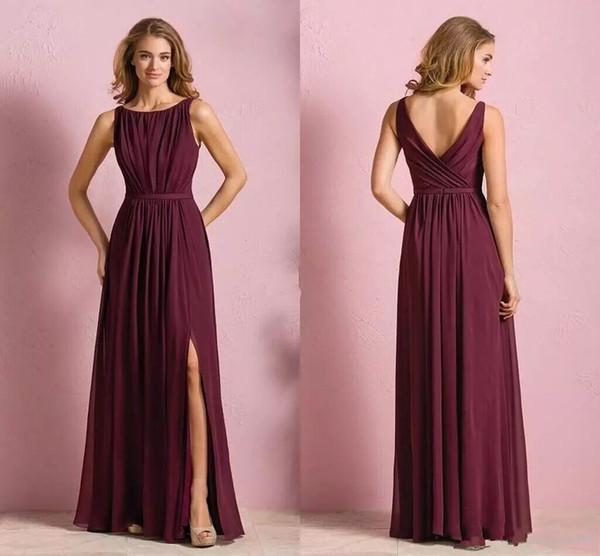 Elegant Chiffon Long Bridesmaid Dresses Burgundy Bateau Open Back ...