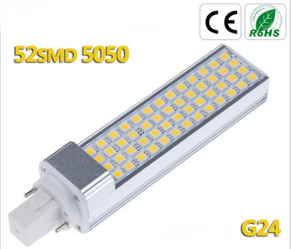 12W 5050 LED Light 52 LED PL Corn Bulb for home Lamp G24 E27 1050LM Cool  Warm White 85V-265V High Power Free Shipping