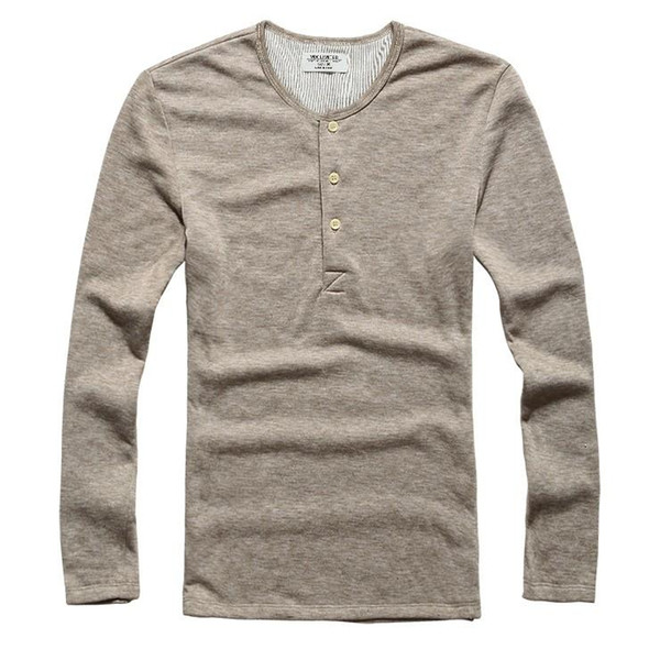 New Fashion Men Tee Long Sleeve Henley Shirts Military Casual T-shirt Top men Clothes lycra cotton t Shirt