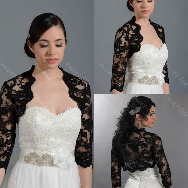 2015 Black Wedding Bridal Bolero Jacket Cap Wrap Shrug Cheap Long Sleeve Front Open Lace Applique Sheer Jacket for Wedding Bride Custom Made