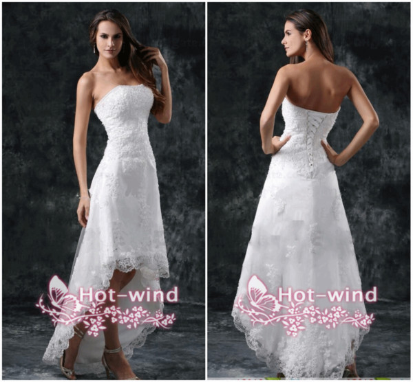 2018 Wedding Dresses Sexy Strapless Appliques Lace High Low Little White Ivory Lace Up Back Summer Beach Short Bridal Gowns Cps110