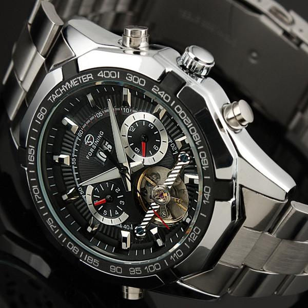 Venta al por mayor-HK Envío libre del envío automático de los relojes del movimiento del uno mismo del hombre Relojes pesados del diseño de la cara del acero grande para hombre Relojes para hombre