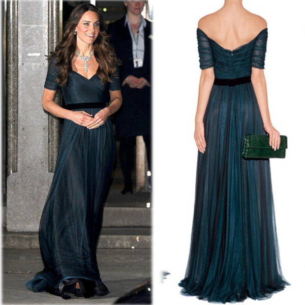 best selling Kate Middleton A Line Celebrity Dresses Ink Blue Sweetheart Neckline off the shoulder ruched tulle Floor Length with Belt Jenny Packham