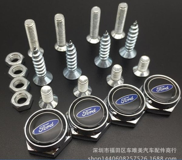 4pcs Chrome License Plate Bolt Frame Screw Caps Cover Bolt Auto Nuts For Ford Focus Mondeo M47909