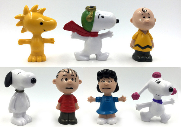 Wholesale Peanuts Comics Pencil Stub Toys Charlie Brown And Snoopy Figures Toys 7 Styles Snoopy Action Figures Dolls Free Shipping