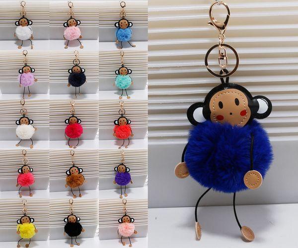 1687125da8 17 Styles Rex rabbit fur ball Fluffy Keychain Womens Pompom Monkey Keyring  For Girl Bag Key
