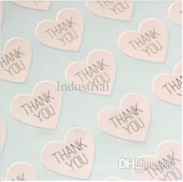 best selling Wholesale-THANK YOU heart design Sticker Labels Seals.3.8cm, Gift stickers for Wedding seals,300pcs lot (SS-7132)