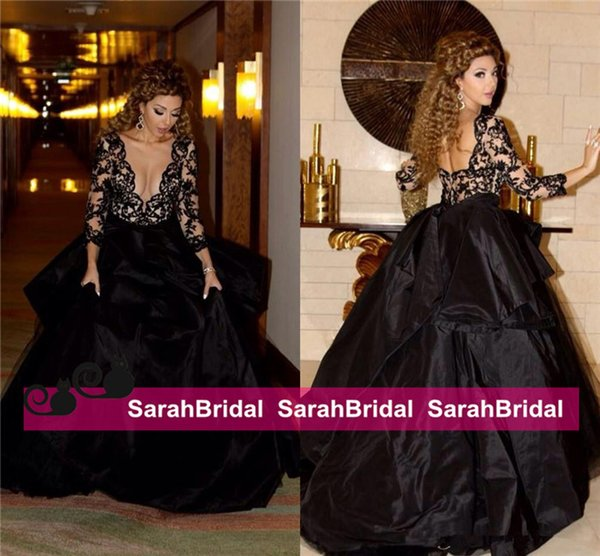 2015 Myriam Fares Gothic Black Lace Evening Dresses For 2016 Masquerade Prom Ball Formal Wear Arabic Celebrities Style Wedding Party Gowns