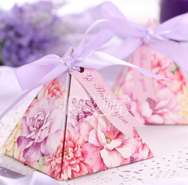 100 Pcs European style purple pink flower color Pearl paper triangle pyramid Wedding box Candy Box gift boxs wedding favour boxes THZ179