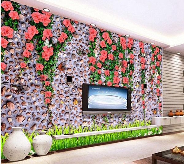 Custom photo wallpaper Large 3D sofa TV background wallpaper mural wall Rose Vines 3d mural wallpaper 201515300