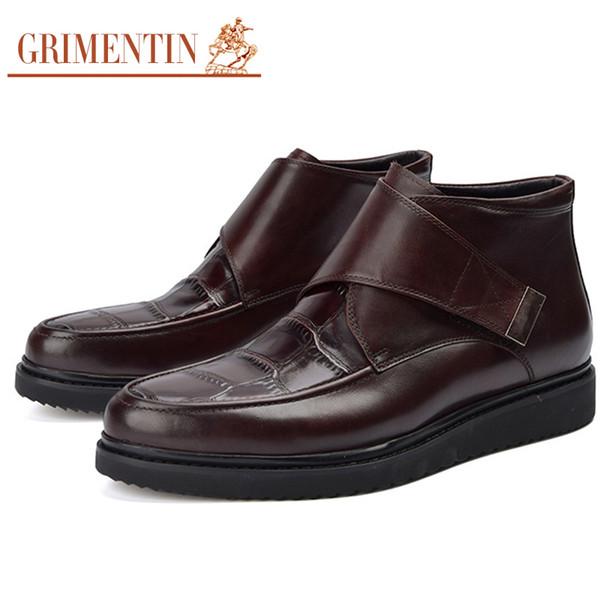 GRIMENTIN Genuino de cuero negro marrón botas para hombre venta caliente moda italiana casual para hombre botines para negocio de marca zapatos masculinos