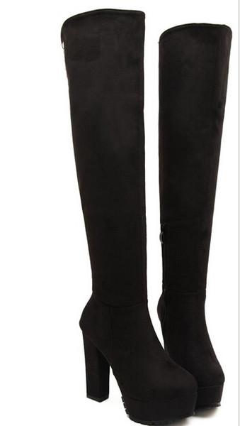 Großhandel Heiß! 2015 Schwarze Nieten Overknee Plattform Breiter Absatz Stiefel Overknee Stiefel Über Knie Stiefel Von Lichaohai, $33.13 Auf