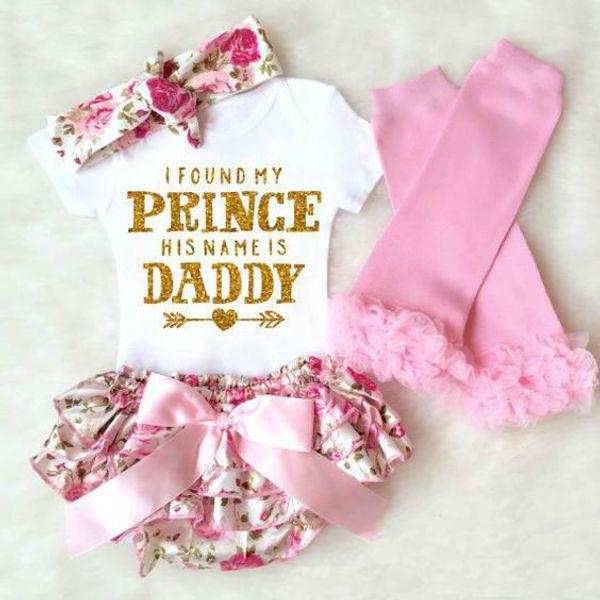 Девочка 4 шт. одежда устанавливает младенческой INS Onesies ползунки + цветочные шорты + оголовье + леггинсы набор я нашел свою принцессу его зовут Папа