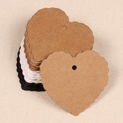 6*5.5cm (2.4*2.2) DIY Kraft Paper Party Wedding Gift Label Cards Heart Scalloped Blank Tags Luggage Label Clothing Price Hang Tag Bookmark