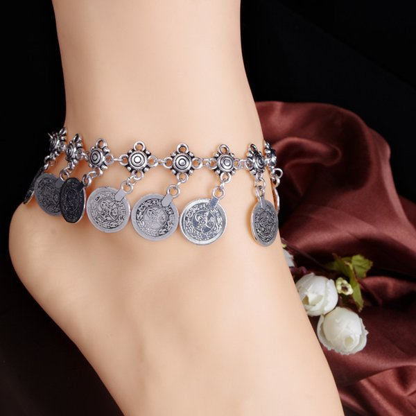 top popular Silver Color Bohemian Metal Tassel Anklet Luxury Charm Coin Ankle Bracelet For Women Jewelry Summer Style C006 2019
