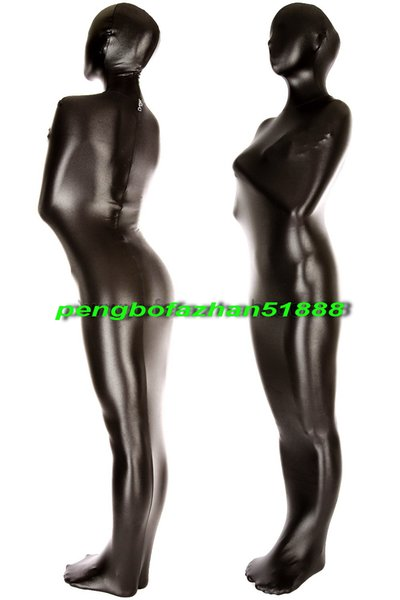 New Black Shiny Metallic Spandex Mummy Suit Costumes Outfit Unisex Sleeping Bags Mummy Costumes Halloween Fancy Dress Cosplay Suit P016