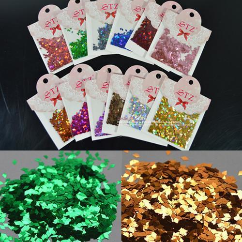 Gros-1set / lot 12 couleurs 4X2mm 3D Nail Art Glitter Powder Décoration Rhombus Paillette 3D losange Formes Slice Spangles Set Outils