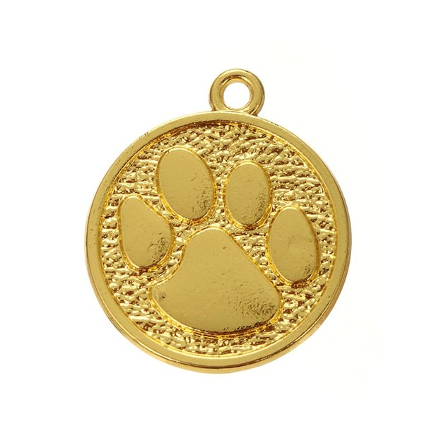 Free shipping New Fashion Easy to diy 10pcs paw print disc animal charm jewelry making fit for necklace or bracelet