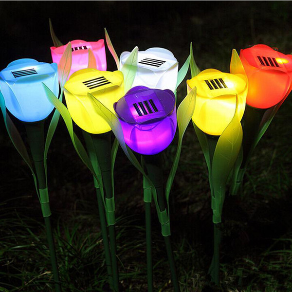 Outdoor LED Solar Powered Tulip flower light Landscape Path Premium quality rose shape bright colorful LED solar lights Outdoor Yard Lamp