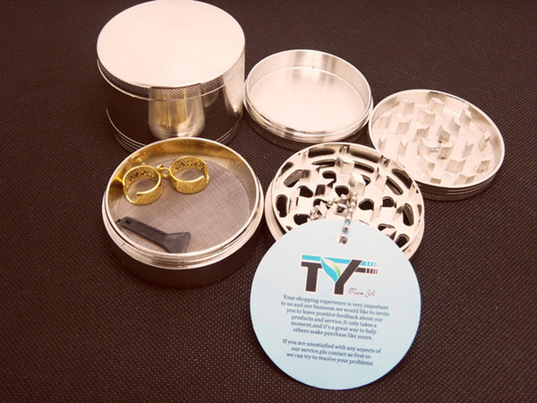 "Tobacco Grinder 4 Pieces 2.5"" Zinc Alloy Herb Pollen Spice Crusher Mills with 2 Pieces Golden Lanyard Ring Gift"