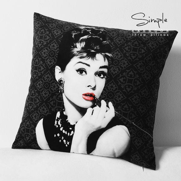 Toptan-Audrey Hepburn yastık kapak Yaratıcı siyah Audrey Hepburn Kısa peluş kadife atın yastık kılıfı yastık kılıfı Yüksek kalite