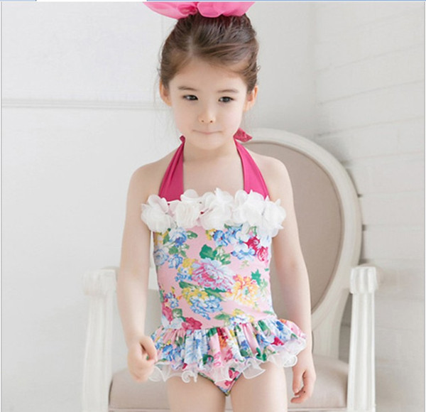 top popular 2018 New Arrival Baby Girl One-Piece Swimwear Kids Floral Printed Swimsuit Fashion Girl Swim Clothing Cute Girl Beach Clothes 2 Color 3 Size 2021