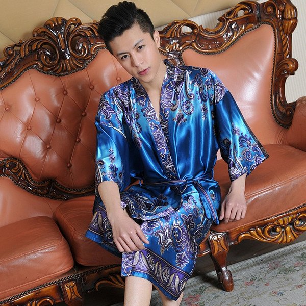 Atacado-verão falso robe de seda masculina roupão de banho meia manga homens de seda sleepwear moda manga curta robe frete grátis