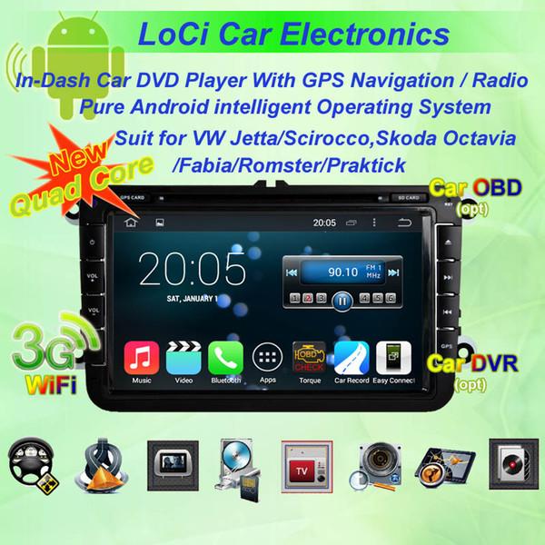 Reproductor de android multimedia de radio para VW volkswagen Jetta 2006-2011, autoradio CD, navegación gps, Android puro 4.4.4, Quad Core