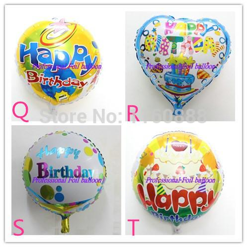 20pcs/lot happy birthday helium ballons for birthday party four designs 18inch round foil balloons hot selling