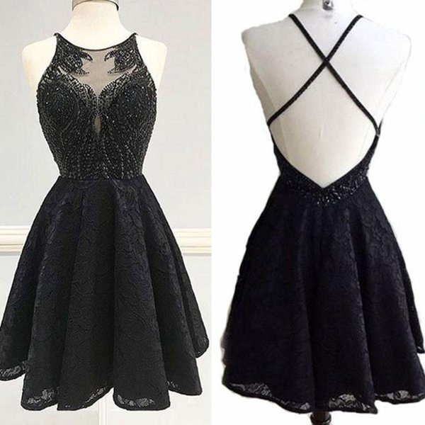 Sexy Mini Lace Black Evening Dresses Beading Corss Belt Backless Exquisite Dresses Party Evening Short Prom Dress Club Formal Clothes